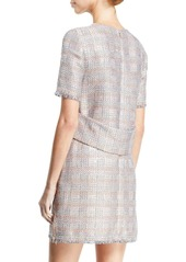 Armani Short-Sleeve Tweed Fringe-Trim Dress