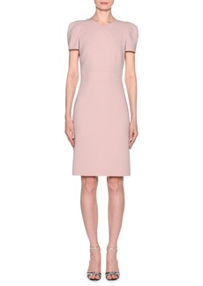 Armani Short-Sleeve Wool Crepe V-Neck Dress  Pink