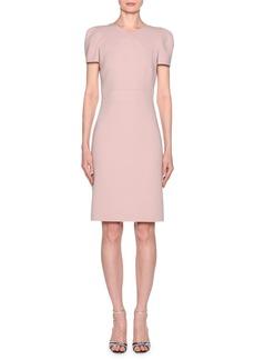 Armani Short-Sleeve Wool Crepe V-Neck Dress  Pink