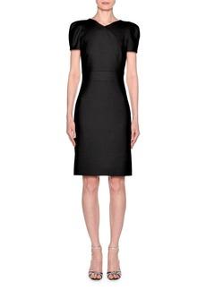 Armani Short-Sleeve Wool Crepe V-Neck Dress  Black