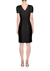 Armani Short-Sleeve Wool Crepe V-Neck Dress  Black