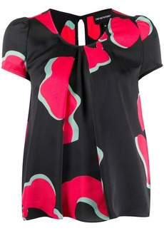 Armani short-sleeved abstract-print blouse
