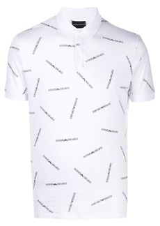 Armani short-sleeved logo-print polo shirt