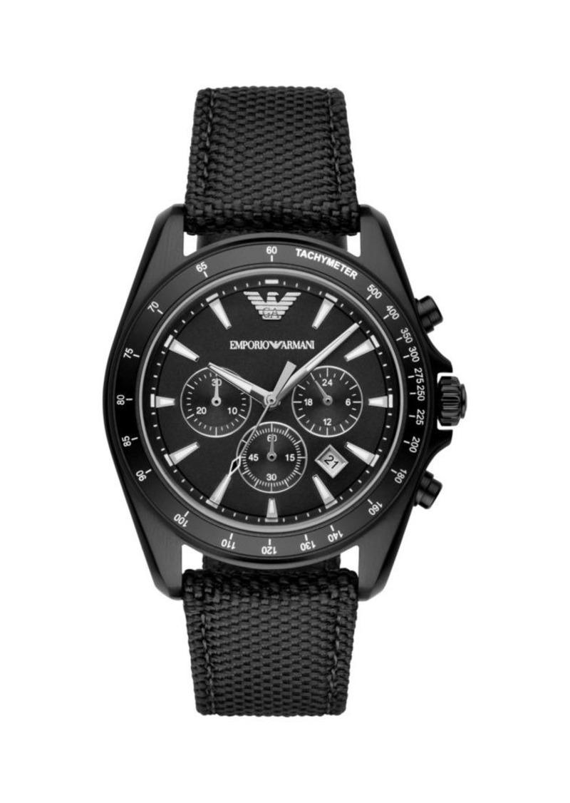 Armani Sigma Leather-Backed Cordura Tactical Nylon Strap Chronograph Watch