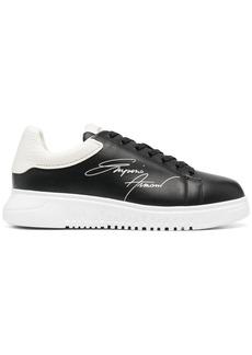 Armani signature logo-print leather sneakers