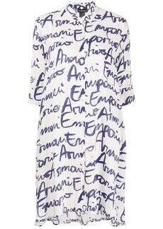 Armani signature logo print longline shirt