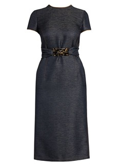 Armani Silk & Wool Denim-Effect Belted Dress