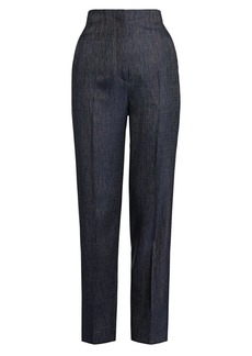 Armani Silk & Wool Denim-Effect Slim Pants