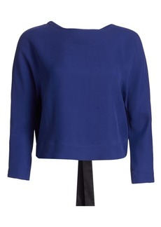 Armani Silk-Blend Crepe Long-Sleeve Tie-Back Blouse