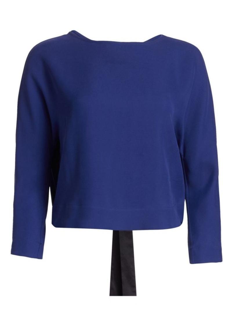 Armani Silk-Blend Crepe Long-Sleeve Tie-Back Blouse