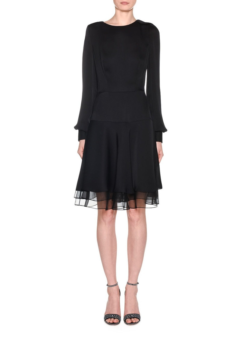 Armani Silk Charmeuse Long-Sleeve Dress