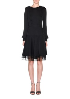 Armani Silk Charmeuse Long-Sleeve Dress