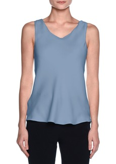 Armani Silk Charmeuse Scoop-Neck Shell  Cornflower Blue