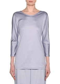Armani Silk-Cotton Knit Long-Sleeve Tunic