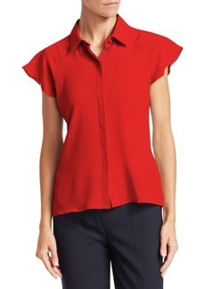 Armani Silk Crepe Cap-Sleeve Top