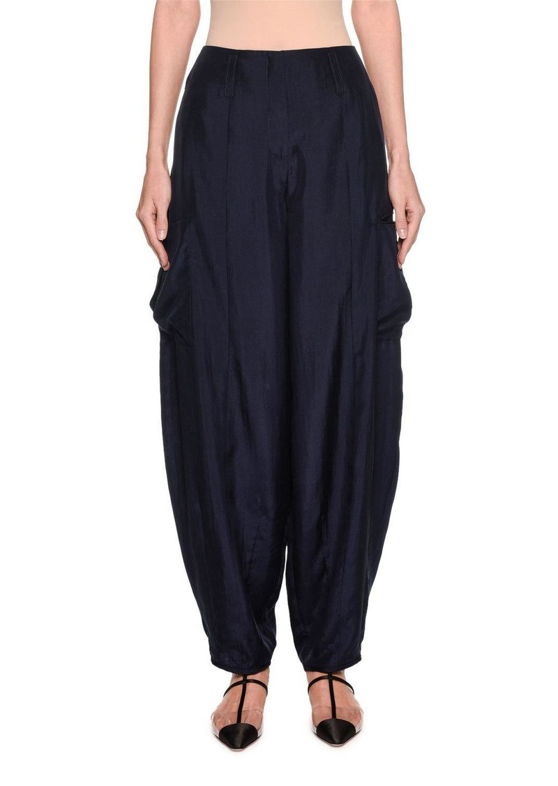 Armani Silk Habutai Harem Pants with Cargo Pockets