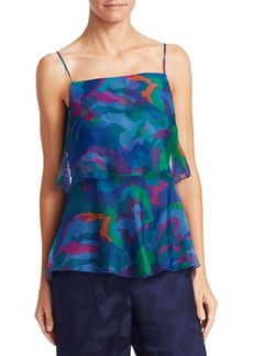 Armani Silk Organza Sleeveless Print Top