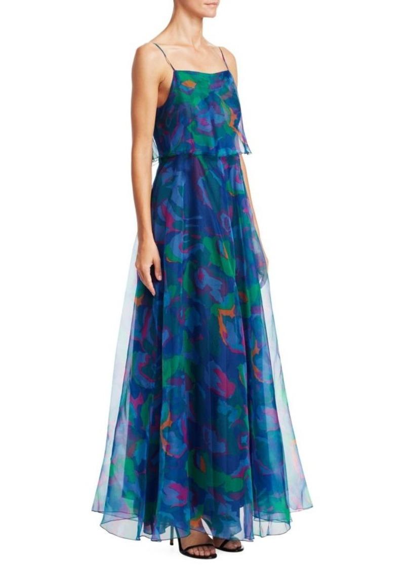 Armani Silk Organza Sleeveless Printed Dress