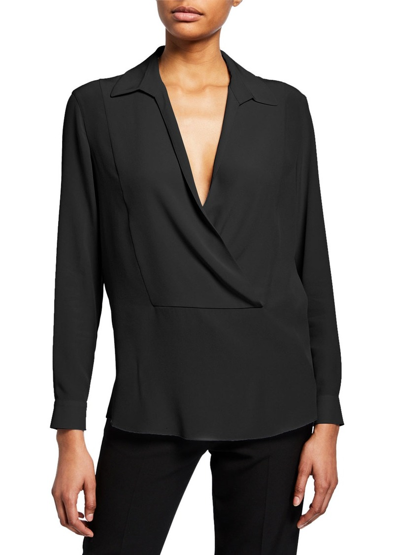 Armani Silk Pique Collared Blouse