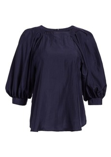Armani Silk Puff-Sleeve Blouse