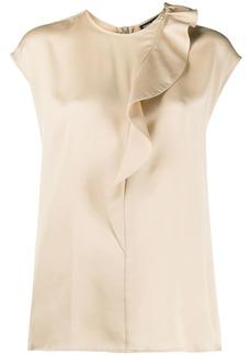 Armani silk ruffle trim blouse