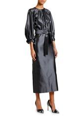 Armani Silk Satin 3/4-Sleeve Belted Dress
