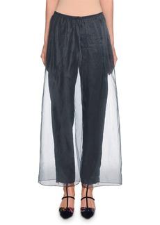 Armani Silk-Trim Silk Pants w/ Organza Overlay