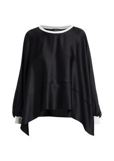 Armani Silk Twill Square Pullover Top