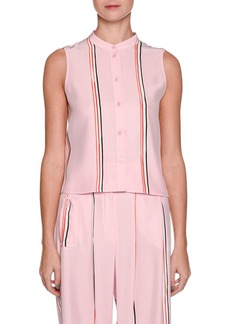 Armani Sleeveless Button-Front Silk Blouse with Sport-Stripe Trim