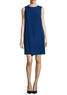 Armani Sleeveless Drape-Front Shift Dress  Royal Blue