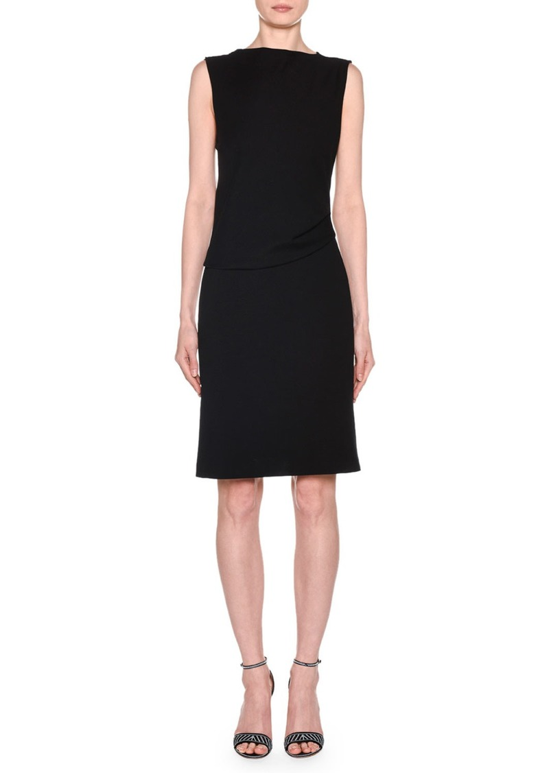 Armani Sleeveless Draped Milano Jersey Dress