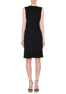 Armani Sleeveless Draped Milano Jersey Dress