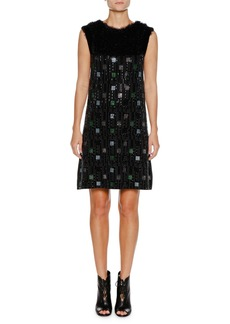 Armani Sleeveless Embellished A-Line Mini Cocktail Dress
