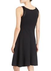 Armani Sleeveless Fit & Flare Dress w/ Pleated-Satin Trim