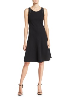Armani Sleeveless Fit & Flare Dress w/ Pleated-Satin Trim