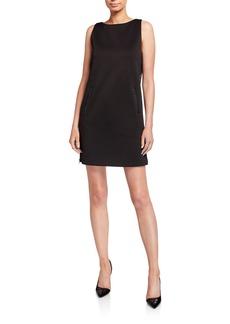 Armani Sleeveless Jersey Shift Dress w/ Leather Trim & Side Zip Panel