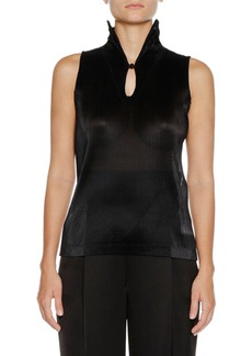 Armani Sleeveless Jersey Top w/ Ruffle Necklace