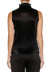 Armani Sleeveless Jersey Top w/ Ruffle Necklace