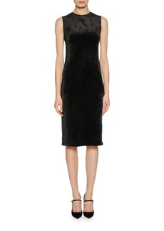 Armani Sleeveless Jersey Velvet Fused Fitted Dress