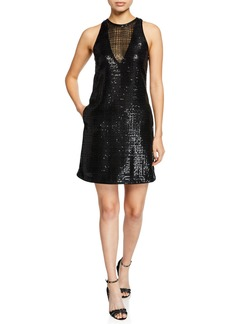 Armani Sleeveless Micro-Paillettes Shift Dress w/ Pockets