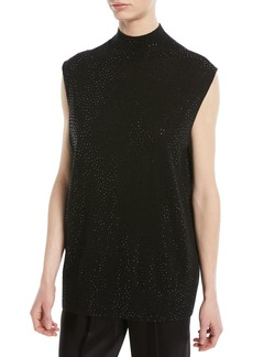 Armani Sleeveless Mock-Neck Embellished Wool Tunic