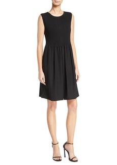 Armani Sleeveless Pintucked-Bodice Dress