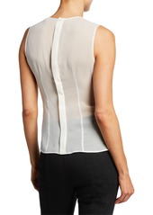 Armani Sleeveless Pleated Peplum Blouse