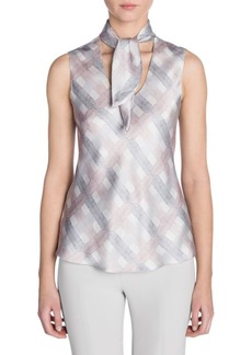 Armani Sleeveless Printed Silk Neck Scarf Blouse