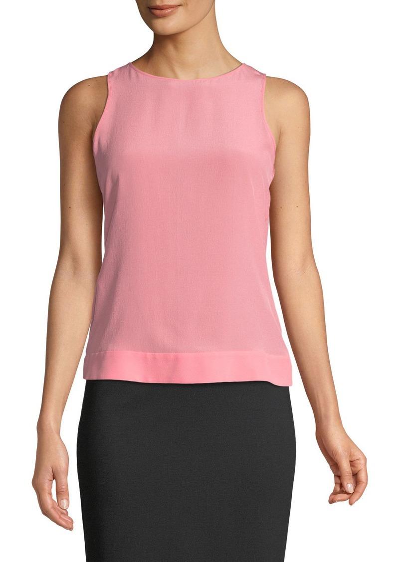 Armani Sleeveless Round-Neck Silk Shell w/ Belted Back