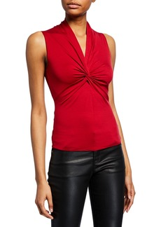Armani Sleeveless Ruched-Front Jersey Top