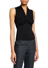 Armani Sleeveless Ruched-Front Jersey Top  Black