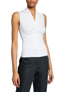 Armani Sleeveless Ruched-Front Jersey Top  White