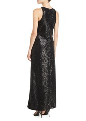 Armani Sleeveless Sequined-Mesh Illusion Gown