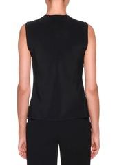Armani Sleeveless Silk Blouse with Detachable Ribbon Trim